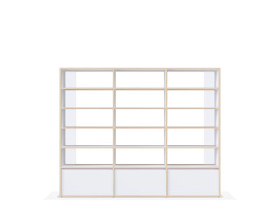 Tall white bespoke wooden bookcase