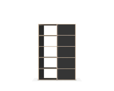 Slim black wall bookcase with doors