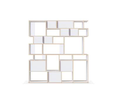 Large modern bookcase with doors in white
