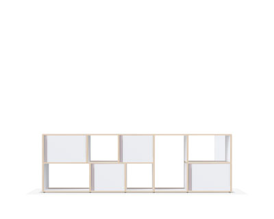 Low modern sideboard in white plywood